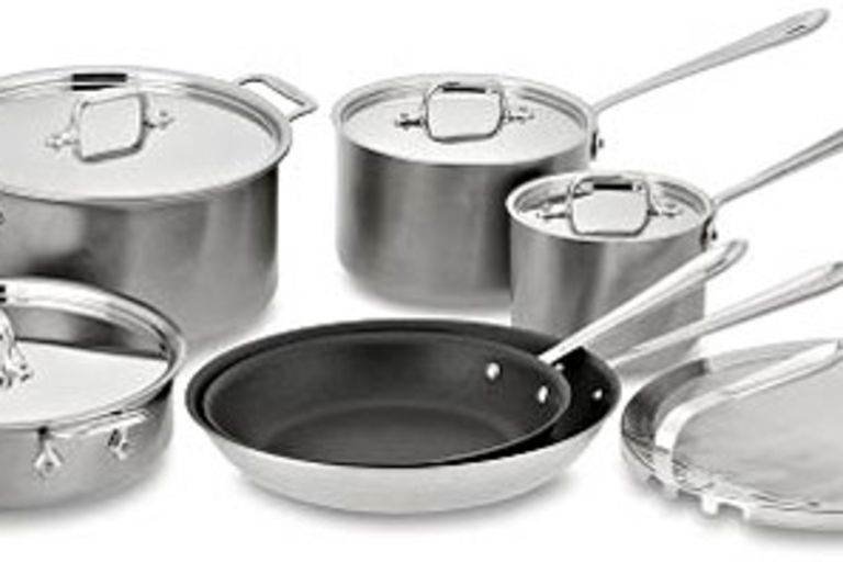 All-Clad Brushed Stainless-Steel Nonstick Cookware