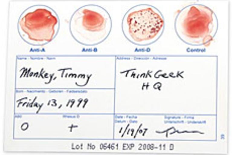 DIY Blood Typing Test