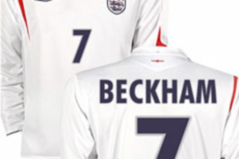 Long-Sleeved England Beckham Home Jersey