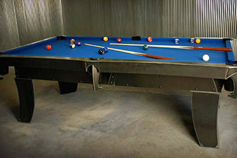 Sculpted Steel Billiard Table