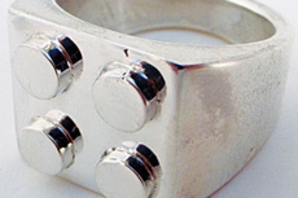 Silver Brickwall LEGO Ring