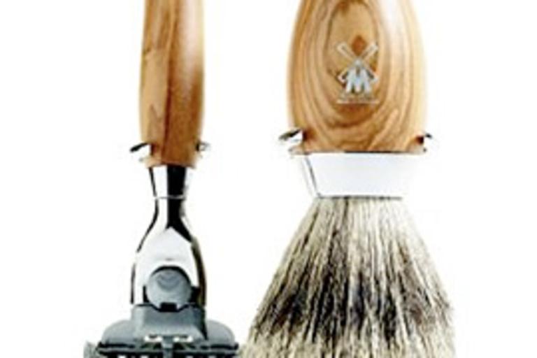 Olive Wood Shaving Set