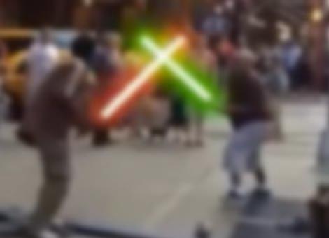 Time Square Lightsaber Fight