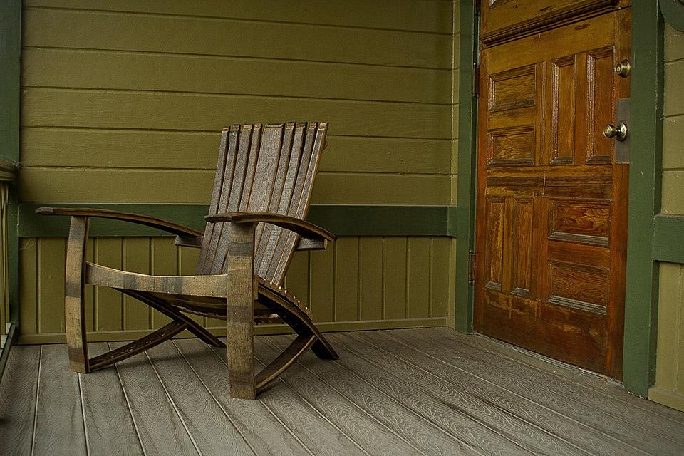 Whiskey Barrel Adirondack Chair