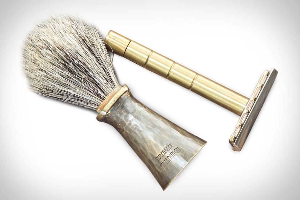 Studebaker Brass Safety Razor & Badger Brush