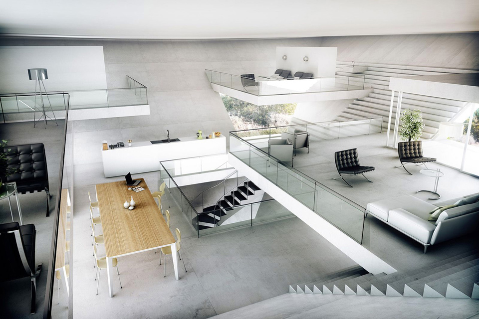 Inverted pyramid house uncrate for Inverted house plans