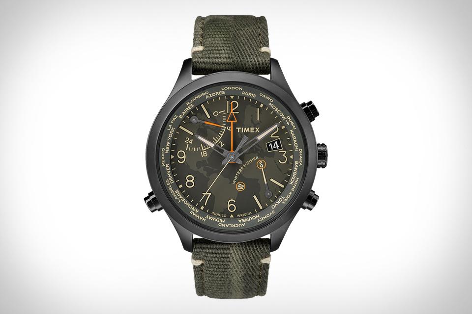 天美时沃特伯里世界时间手表
