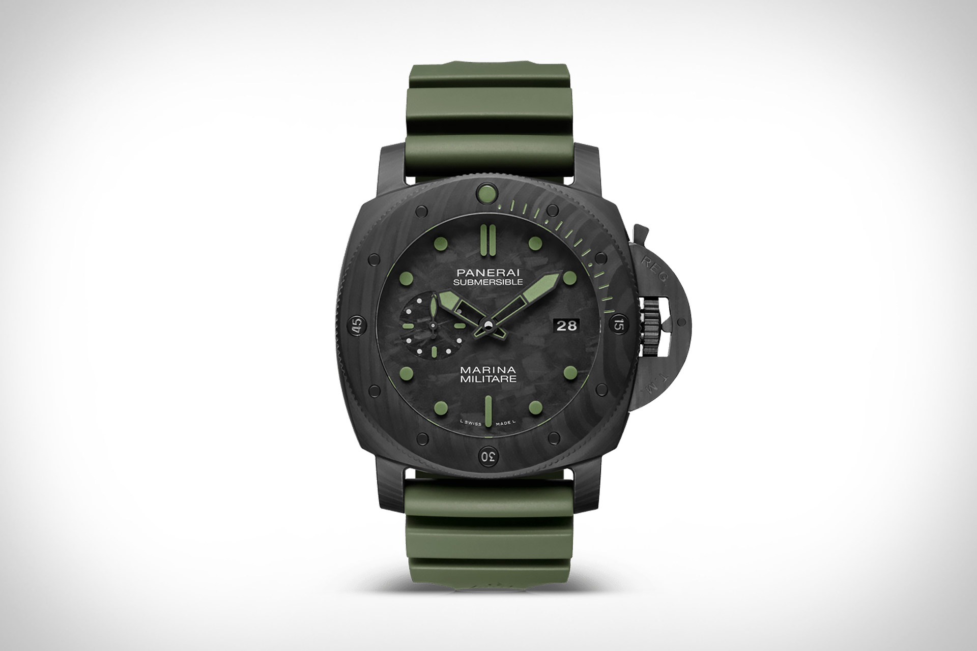 panerai submersible marina militare carbotech le watch