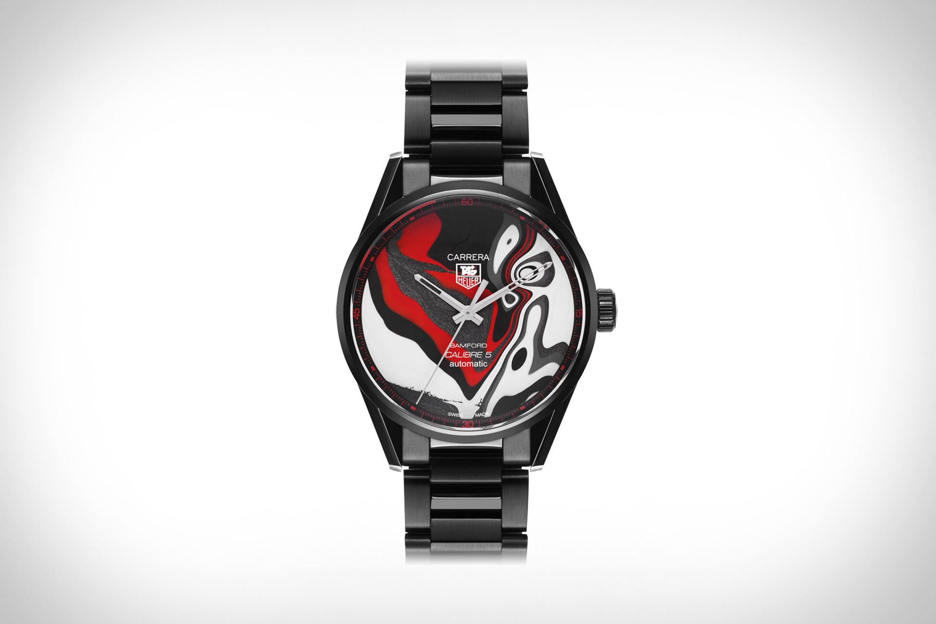 Bamford x Black Badger Fordite Tag Heuer Carrera Watch
